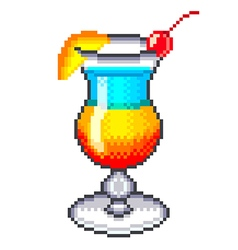 Pixel rainbow cocktail isolated vector