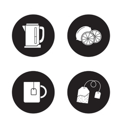 Tea icons set black vector
