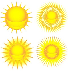 Sun colorful icon set vector