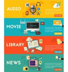 Flat concept banners audio online library video vector