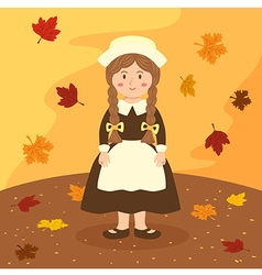 Thanksgiving braid girl cartoon vector