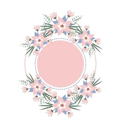 Floral vignette in the form of a circle vector