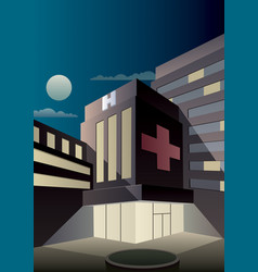 art deco hospital vector image vector image