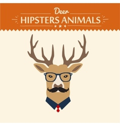 background and greeting card with hipster deer vector image