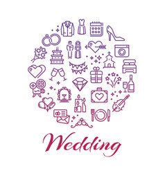 bright wedding line icons round concept vector image vector image