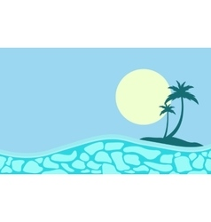 Collection of palm and sun landscape silhouettes vector