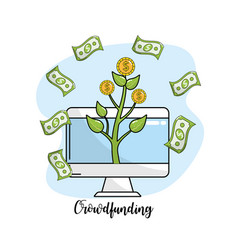 Computer and coins plant with bills cash money vector