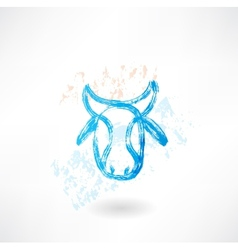 Cows head grunge icon vector image