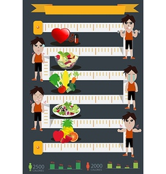 fitness man and diet info graphics vector image vector image