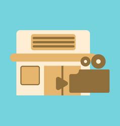 Flat icon building cinema camera vector