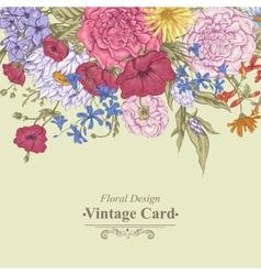 Gentle Retro Summer Floral Greeting Card Vintage vector image