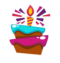 happy birthday cake candle design template vector image vector image