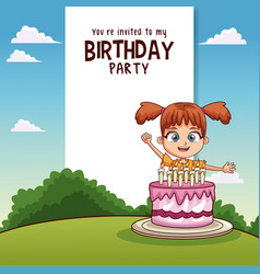 Happy birthday card with girl and gift vector