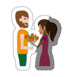 Happy couple with bouquet flowers shadow vector