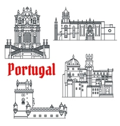 Historical travel sights of portugal linear icon vector