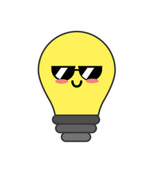 Kawaii cute funny bulb energy vector