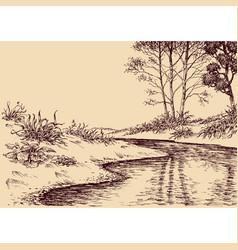 Landscape drawing river flow and vegetation vector