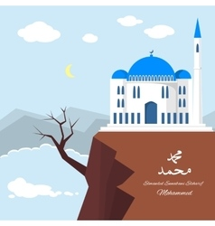 Mosque on the clif with sea and mountains vector
