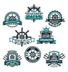 nautical and marine anchors icons set vector image