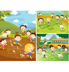 playground scenes with children playing hopscotch vector image vector image