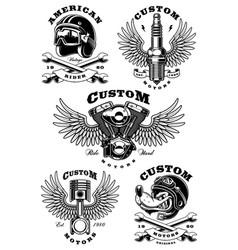 set of 5 vintage biker on white background 1 vector image