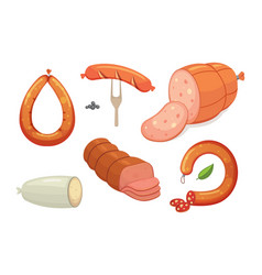 set of cartoon sausage bacon sliced vector image vector image
