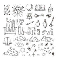 Set of trendy alchemy symbols collection vector image vector image