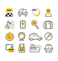Taxi app modern linear icons set vector
