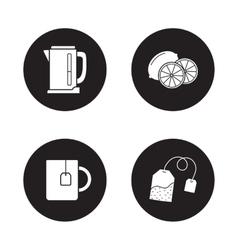 Tea icons set Black vector image