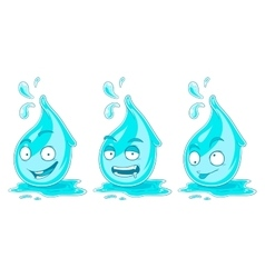 Water drops smiles emotions Set vector image