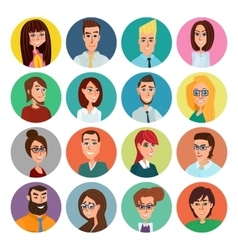 Cartoon male and female faces collection vector image