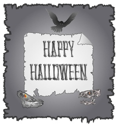 Happy halloween inscription of bones and skulls vector