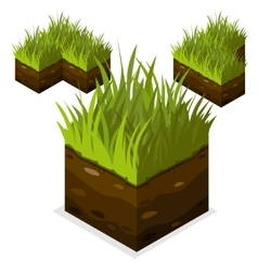Game block isometric landscape cube land and grass vector