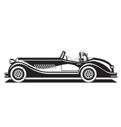 Fashion model driving classic car vector