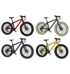 Four color fatbikes vector