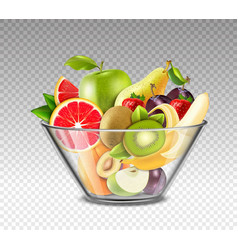 Realistic fruits in glass bowl vector