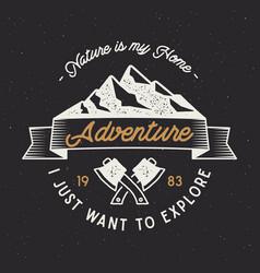 Vintage adventure label mountain expedition vector