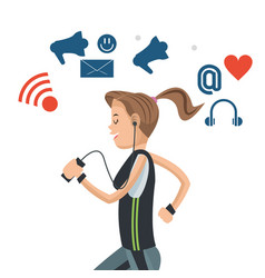 sport woman with headphones social media vector image
