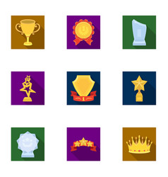 Awards gold medals and cups as prizes in vector