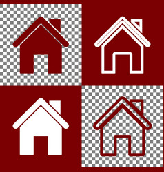Home silhouette bordo and vector