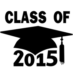 Class of 2015 school mortar board graduation cap vector