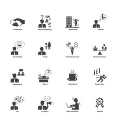 Business people activities icons set vector