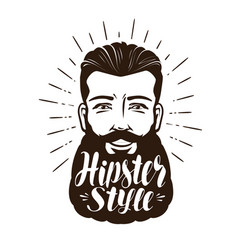 portrait of happy bearded man hipster style vector image