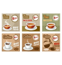 Set of coffee and tea menu card vector