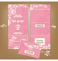 Pink wedding seal and send vector