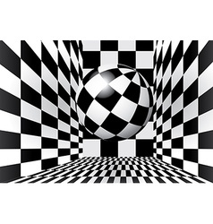 Checkered room with ball vector image
