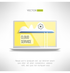 Cloud service icon on a notebook with a ladder vector