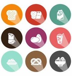 Solid food and beverage icons shadow vector