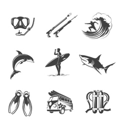 Beach icons black set Summer vacation and vector image