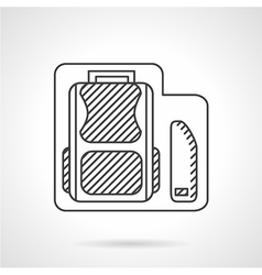 School bag with pencils box line icon vector